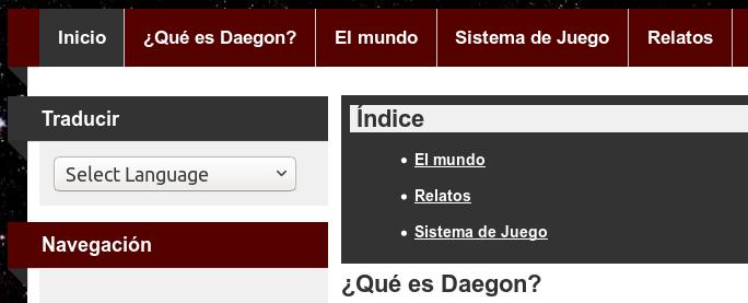 Menú de la web de Daegon